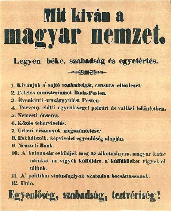 Az 1848-ban megfogalmazott 12 pont