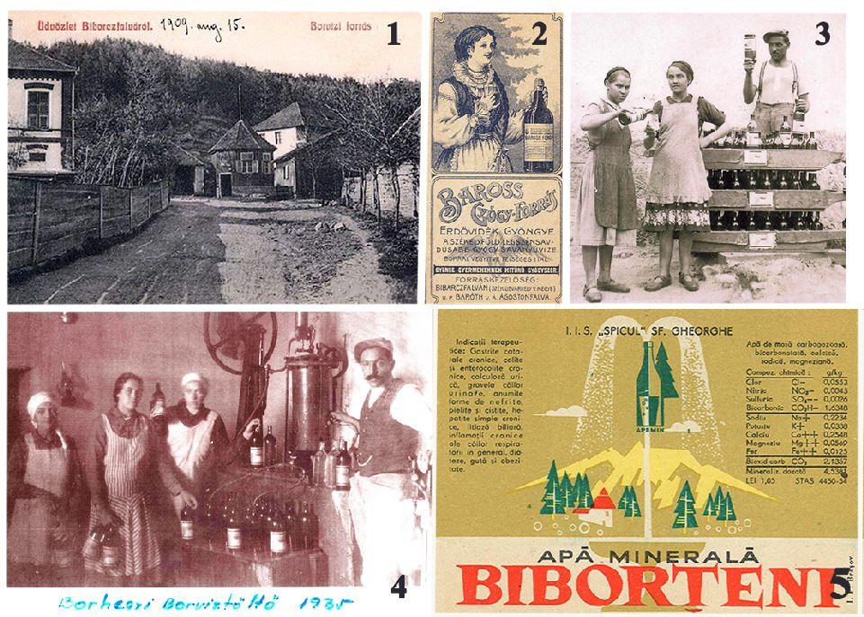 1. A Fenyőalji-borvízkút 1909-ben 2. A Baross-forrás reklámlapja 3. Szállításra készen a palackozott borvíz – 1935 4. A Borhegyi-töltöde 1935-ben 5. Ásványvíz-címke az 1950-es évekből