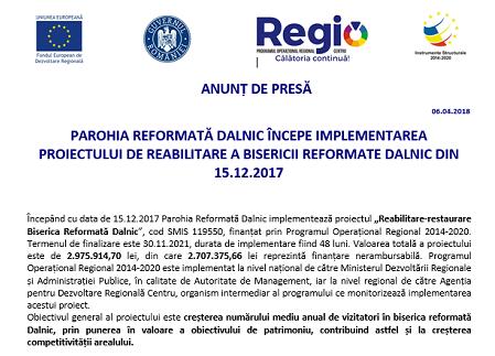 PAROHIA REFORMATĂ DALNIC ÎNCEPE IMPLEMENTAREA PROIECTULUI DE REABILITARE A BISERICII REFORMATE DALNIC DIN 15.12.2017