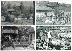 1. Látkép az 1940-es évek elejéről. Háttérben a melegfürdő. 2. Az 1927-ben épült fürdő. 3. A szabadtéri borvízfürdő. 4. A szabadtéri medence látogatói az 1930-as években.