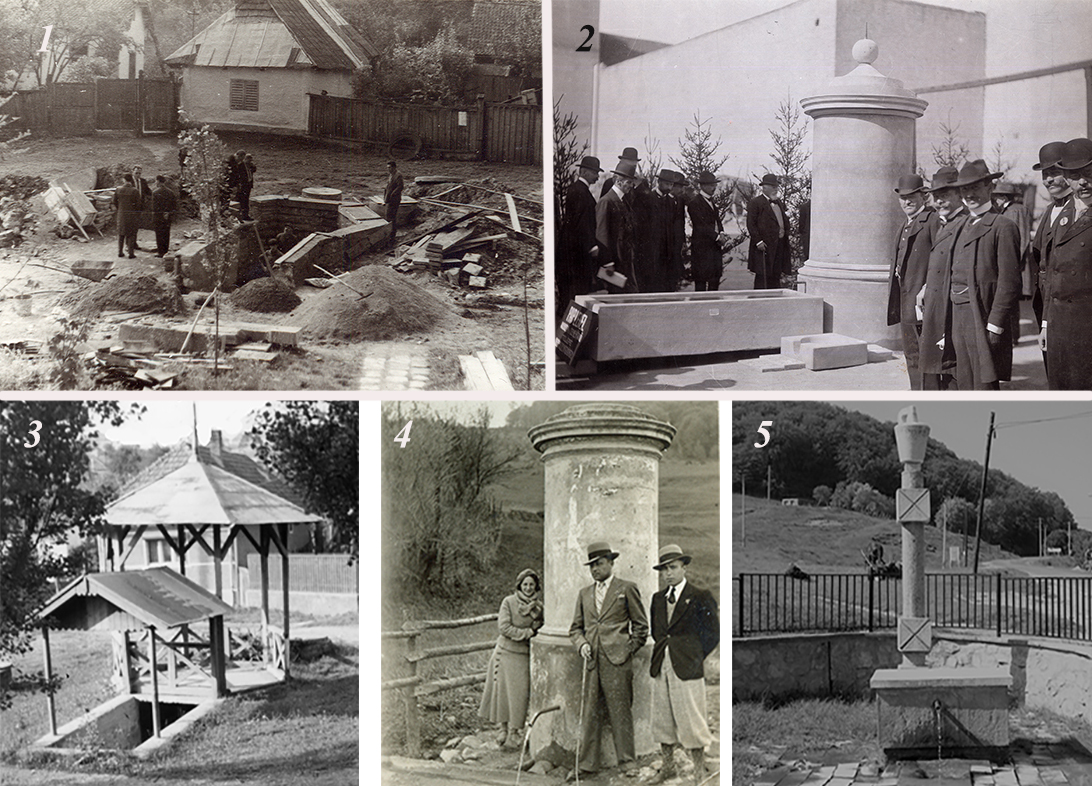 1. A Borvíz-utcai forrás új keretbe helyezésének munkálatai 1960-ban. 2. A szemerjai forrás foglalatának bemutatása a Mikó udvarán 1907-ben. 3. A Borvíz utcai forrás pavilonja az 1970-es években. 4. A szemerjai forrás az 1940-es években. 5. A szemerjai borvíz 1980-as években készült kerete.