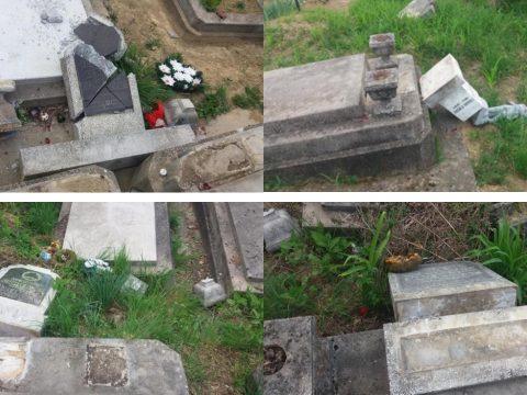 18 sírt gyaláztak meg a zilahi református temetőben
