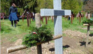 A meggyalázott sírokat mogyorófakeresztekkel jelölték meg