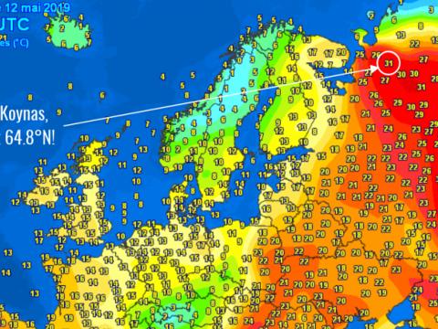 31 fokot mértek vasárnap az északi sarkkör közelében