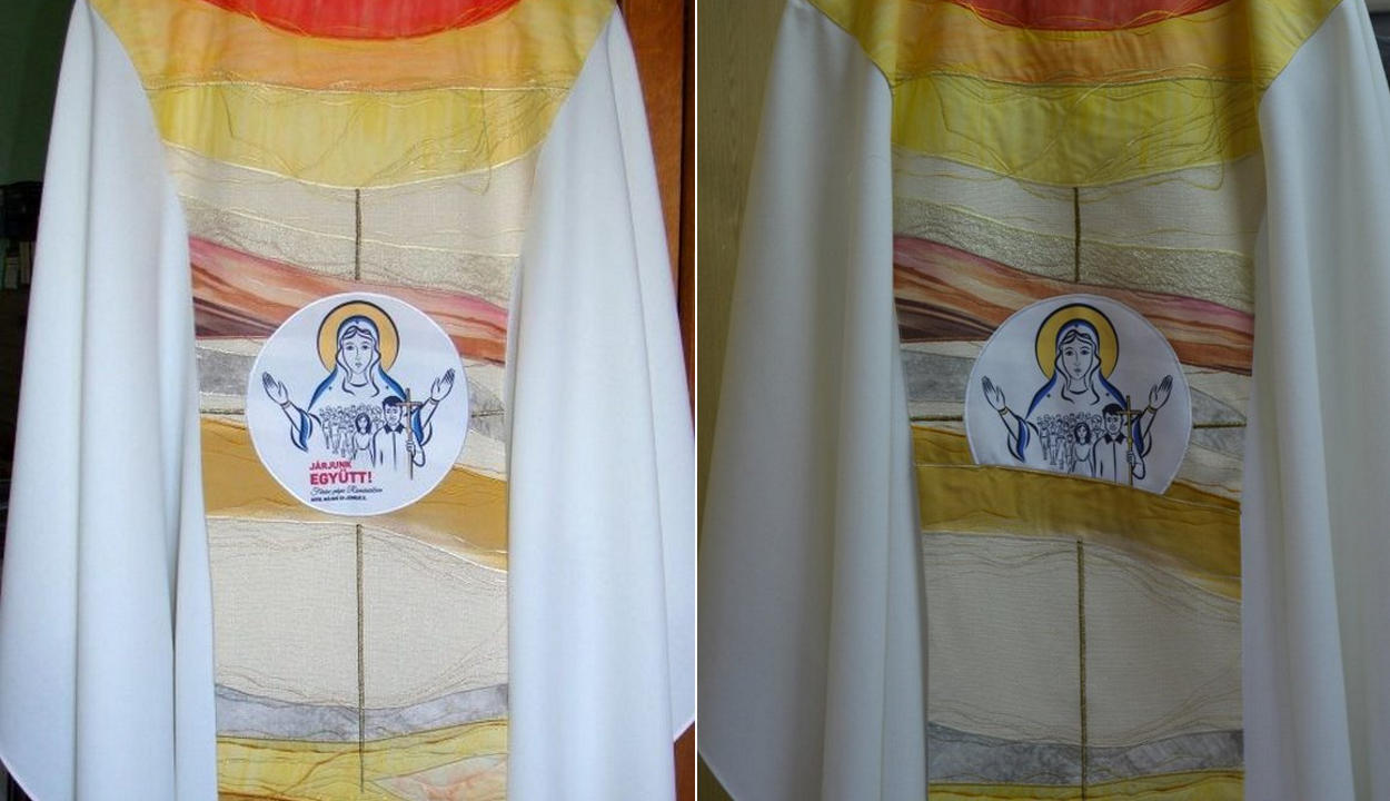A hatóságok letakartatták a magyar feliratot a pápa csíksomlyói miseruháján