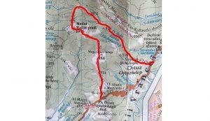 A térképen vastag piros vonal jelzi a Mátyás király feltételezett útját