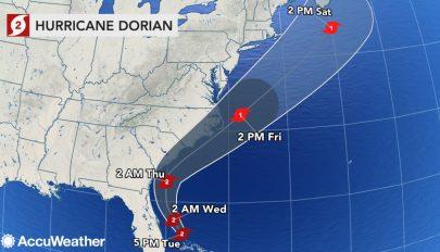 Megúszhatja Florida: a Dorian hurrikán várhatóan csak a félszigettől távol halad el