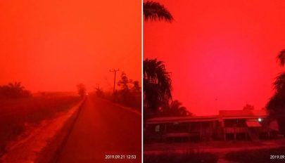 Vörössé vált az ég Indonéziában