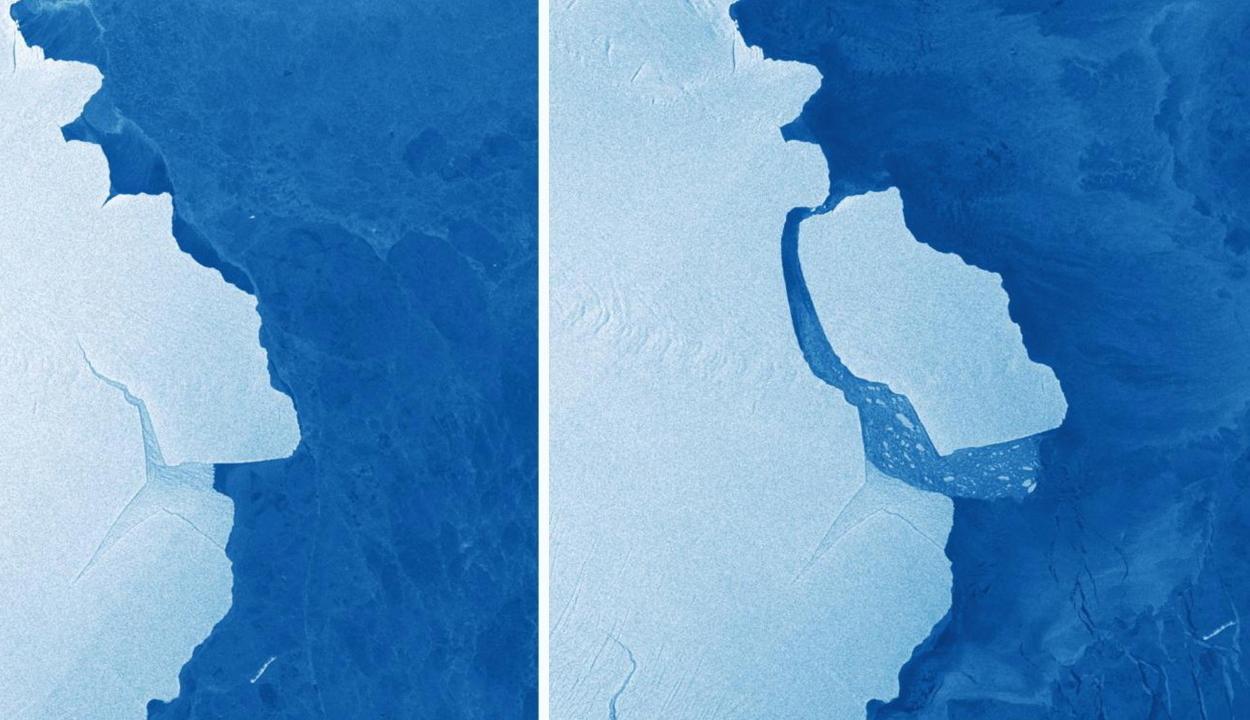 Veszélyt jelenthet a hajósoknak az Antarktiszról leszakadt gigászi jégtömb