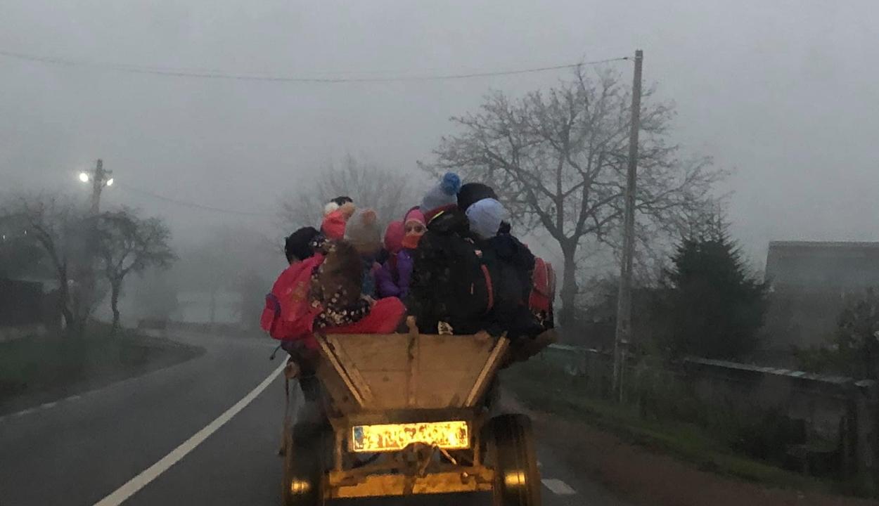 Iskolabusz helyett szekéren szállítják iskolába a gyerekeket egy Bákó megyei faluban