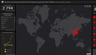 Online térképen követhető az új koronavírus terjedése