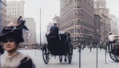 Mesterséges intelligenciával feljavított videón az 1911-es New York