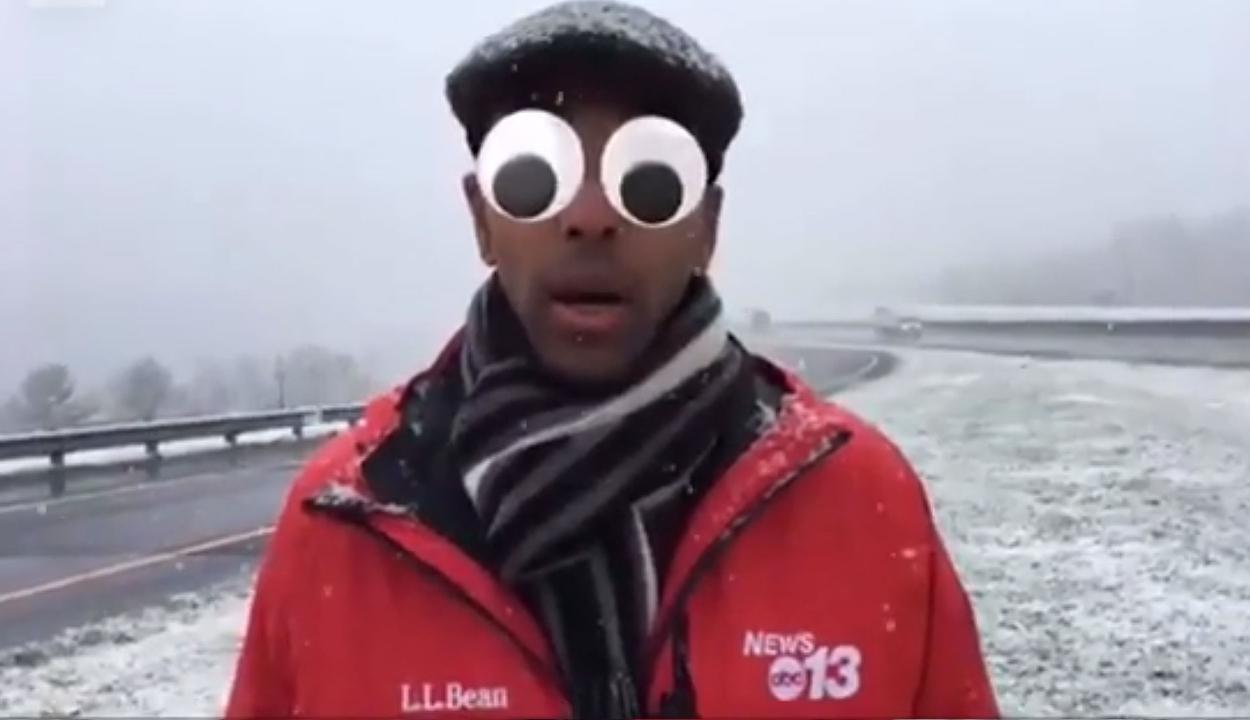 Véletlenül vicces szűrőkkel az arcán tudósított egy riporter