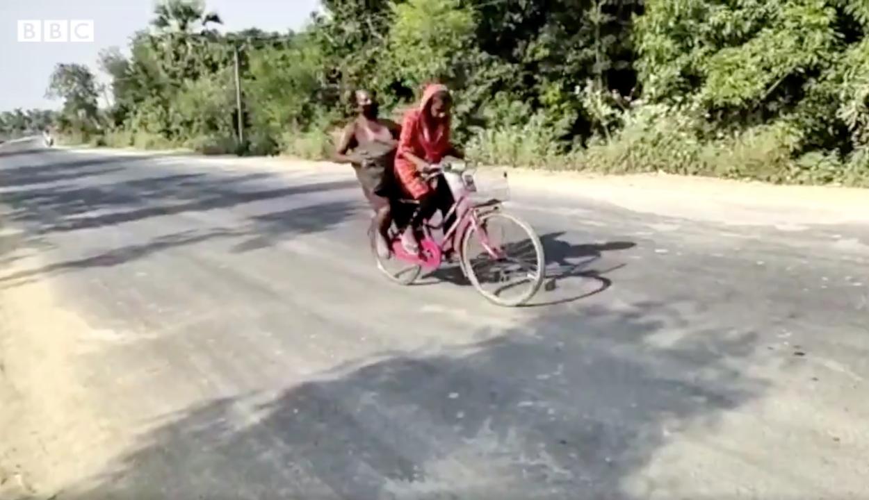 1200 kilométert biciklizett egy 15 éves indiai lány, mozgássérült apjával a csomagtartón