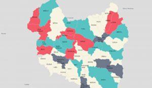 A Recorder térképe szerint a pirossal jelzett települések vize fertőzött. Azóta változott a helyzet