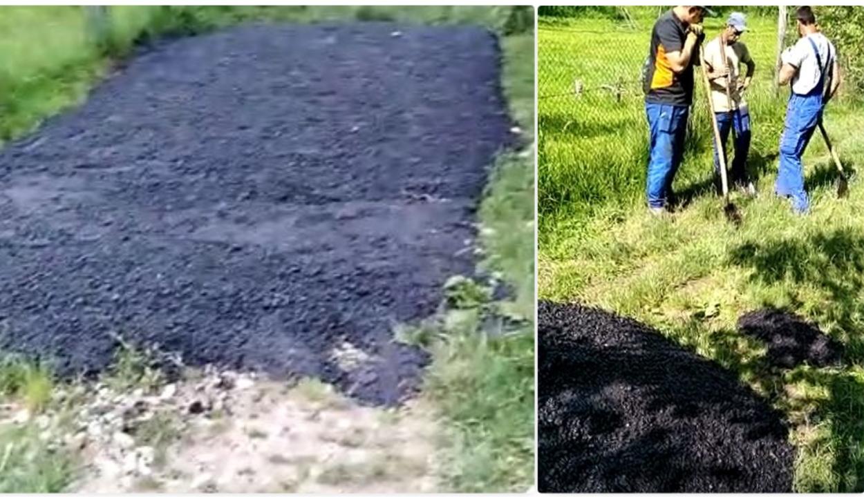 Egyenesen a fűbe öntötték az aszfaltot egy Argeș megyei faluban