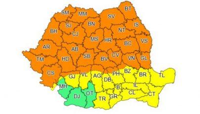 Narancssárga jelzésű viharriasztás az ország nagy részében kedd reggelig