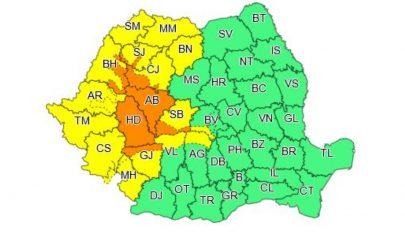 Másodfokú esőriasztás 7 megyében, elsőfokú riasztás 15 megyében