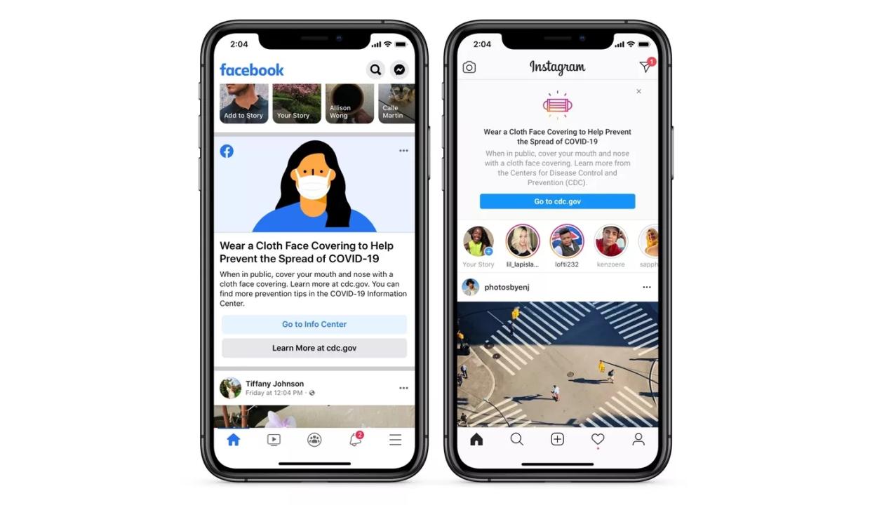 A Facebook és az Instagram is a helyes maszkviselés fontosságára figyelmeztet