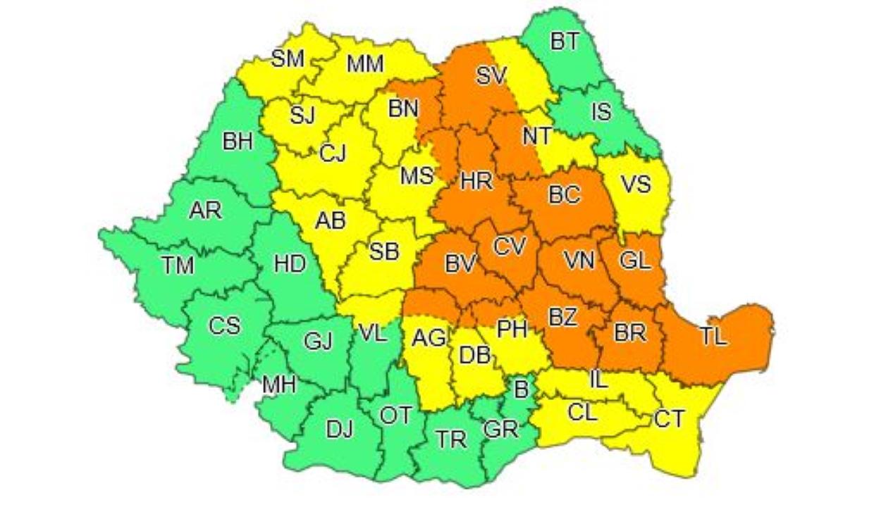 Másodfokú esőriasztás 16 megyében, elsőfokú riasztás 18 megyében