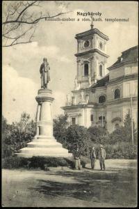 A nagykárolyi Kossuth-szobor. Hurkot vetettek a nyakába gallery.hungaricana.hu