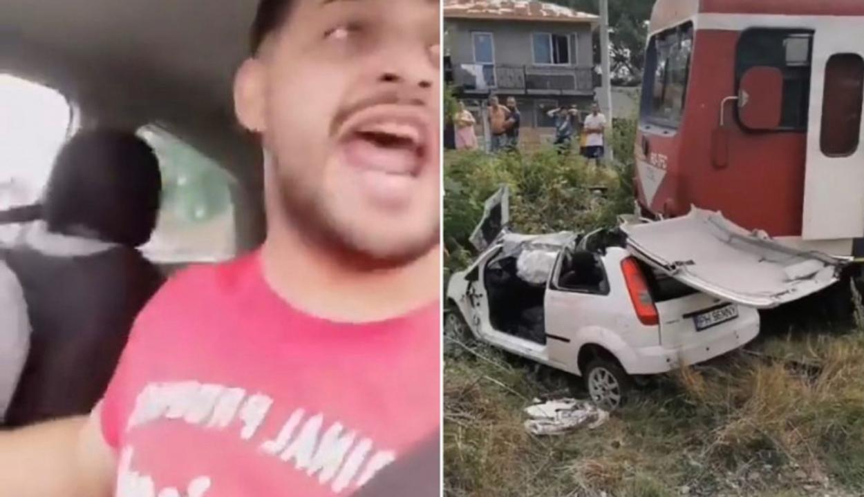 Élőben közvetítette a román popsztár, amint az autójukba hajt a vonat