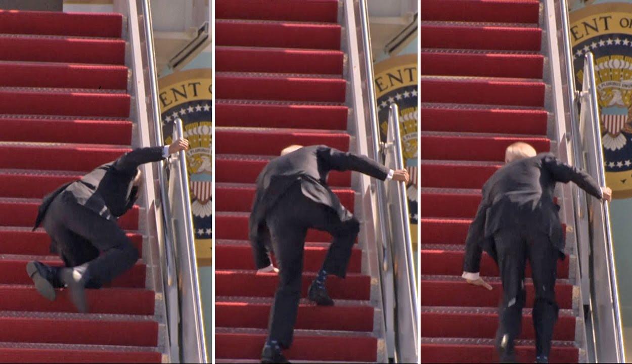 Háromszor is megbotlott Joe Biden, miközben felszállt az elnöki különgépre