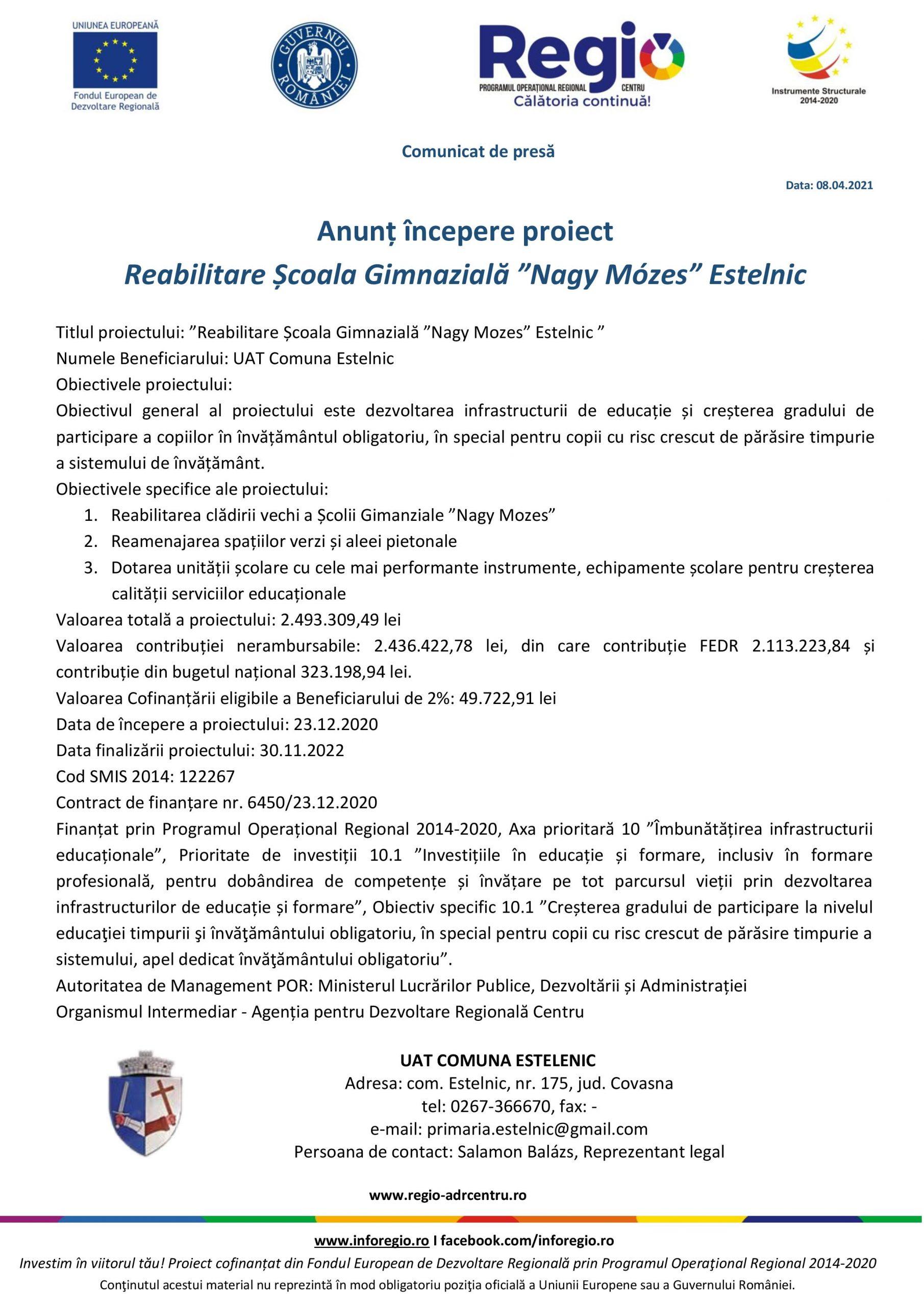"""Anunț începere proiect Reabilitare Școala Gimnazială """"Nagy Mózes"""" Estelnic"""