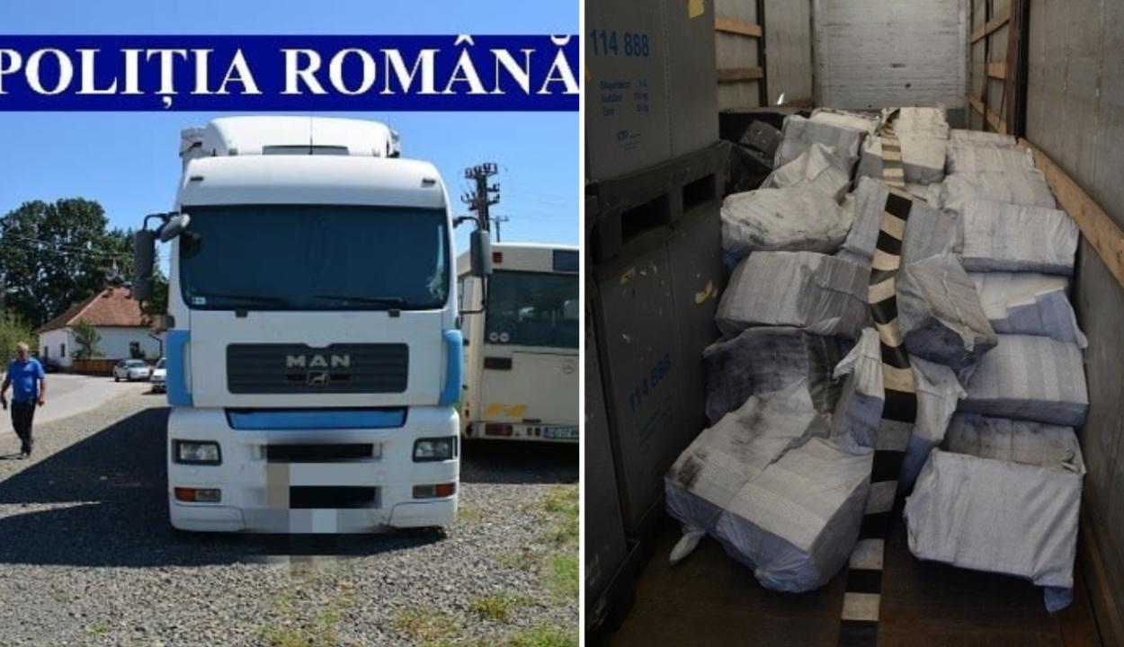 A román rendőrök 80 ezer csomag cigarettát találtak egy elhagyott magyar kamionban
