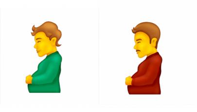 Érkezik a terhes férfi és gendersemleges babát váró személy emojija